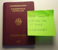 Reisepass und Adresse für Kontoeröffnung in den USA