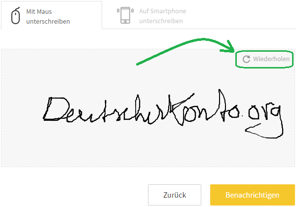 Kontowechselservice mit digitaler Unterschrift