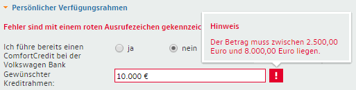 Kreditlinie maximal 8.000 Euro
