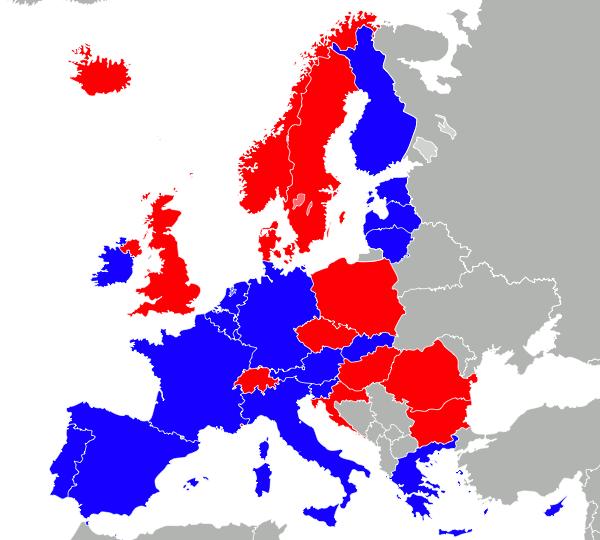Karte mit Euro- und SEPA-Ländern