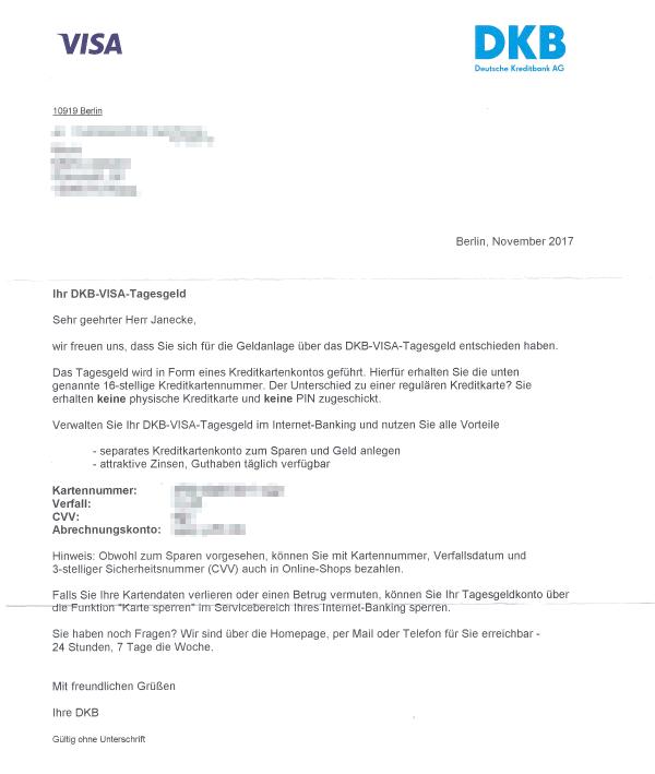 Antrag fürs VISA-Tagesgeld der DKB