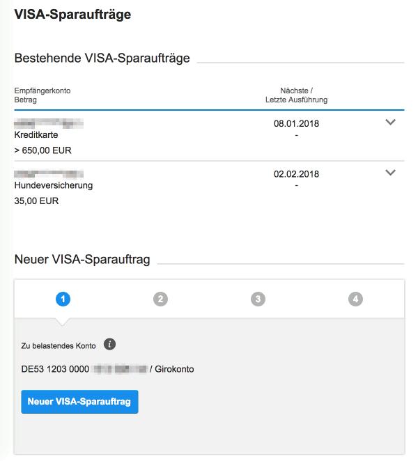 Übersicht der VISA-Sparaufträge