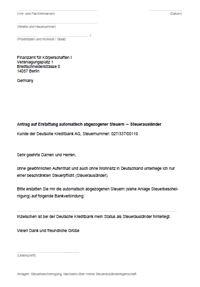Musterbrief Steuererstattung DKB