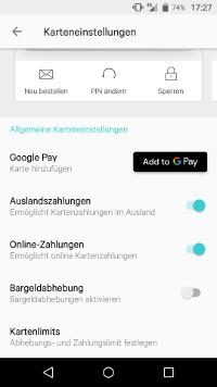 N26 Einstellungen und Google Pay