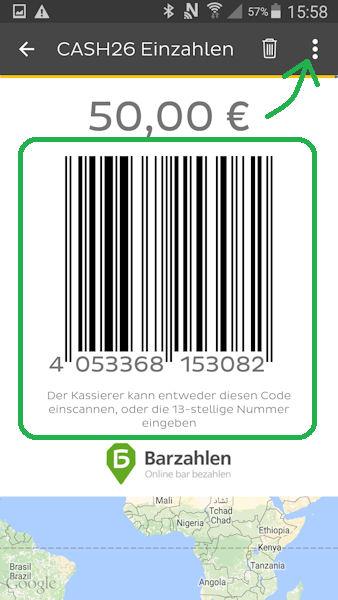 Barcode für die Einzahlung von Bargeld