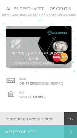 MasterCard mit Nummer von number26