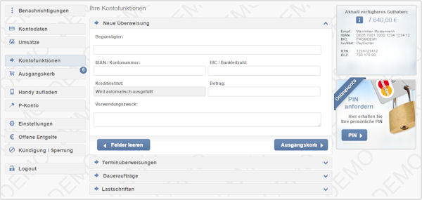 Modern online banking in German language