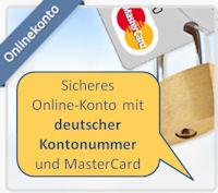 Sicheres Online-Konto mit deutscher Kontonummer und MasterCard