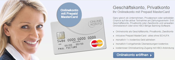 Online account with prepaid MasterCard