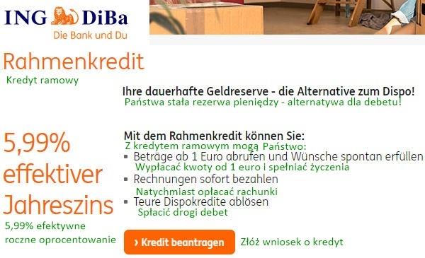 ING-DiBa Rahmenkredit und Dispo