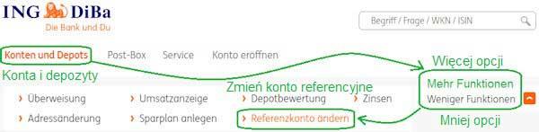 Grafik: Referenzkonto beim Rahmenkredit der ING-DiBa ändern