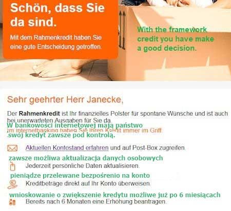 ING-DiBa genehmigte Rahmenkredit