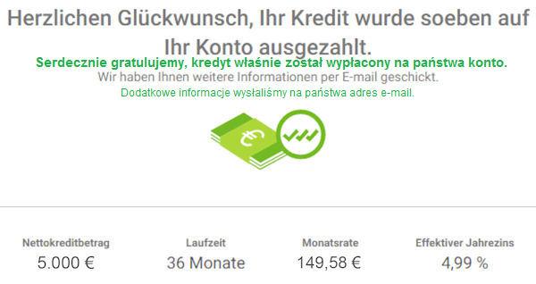 Smava wypłata kredytu 5000 Euro
