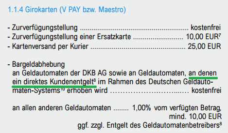 Bildschirmfoto DKB Preisverzeichnis