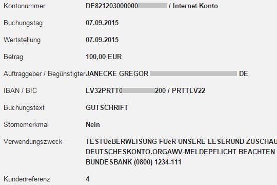Beweis der schnellen Überweisung Privatbank Lettland - DKB Deutschland