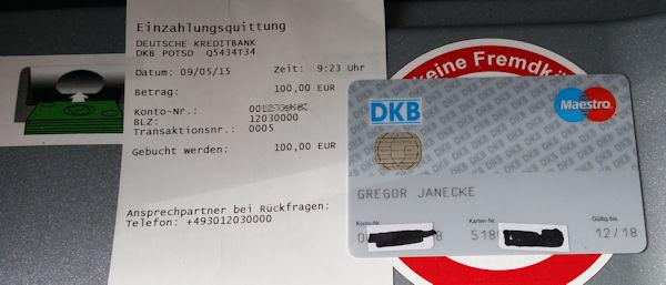Bareinzahlung Dkb