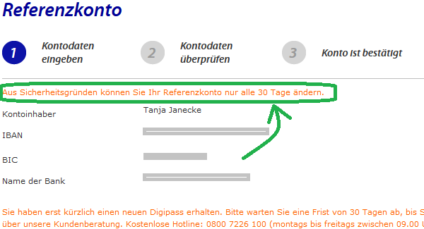 RaboDirect Referenzkonto ändern