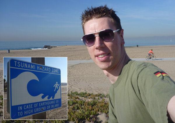 Gregor am Strand von Los Angeles.