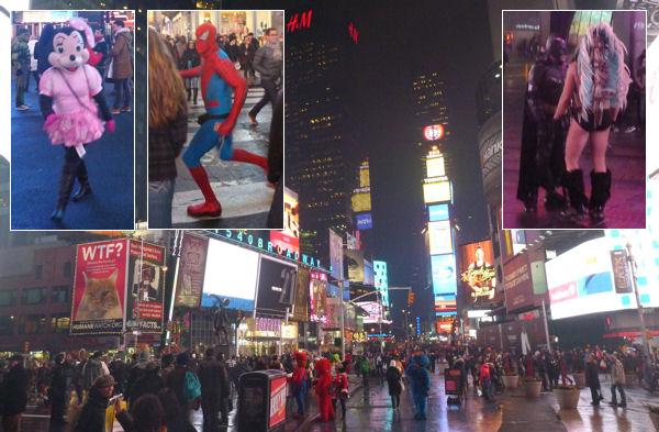 Seltsame Gestalten auf dem Times Square in New York