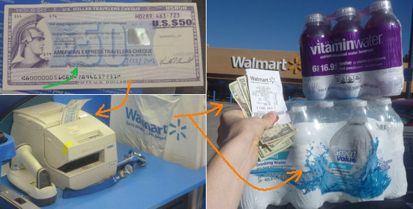 Encashment of travelers checks at Walmart