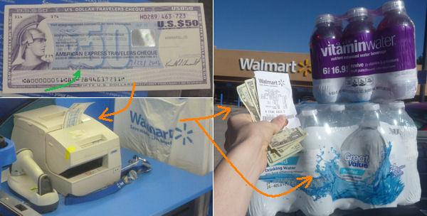 Einlösung vom Reisescheck bei Walmart