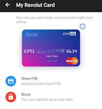 Virtuelle Kreditkarte in der Revolut App