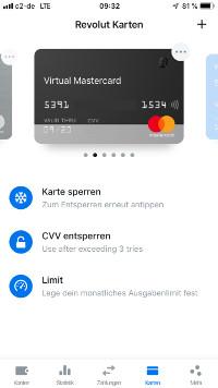 Virtuelle Kreditkarte von Revolut