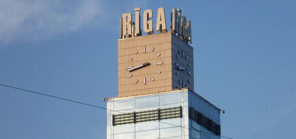 Uhr Hauptbahnhof Riga