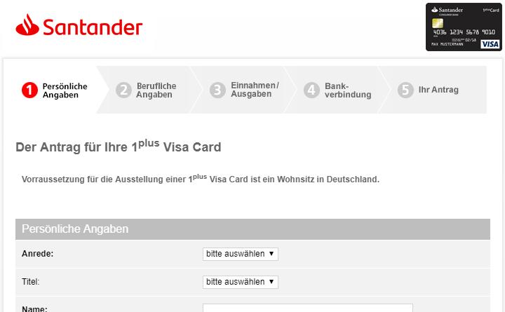 Santander Online-Antrag