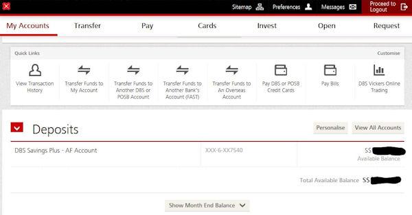 Online Banking der DBS