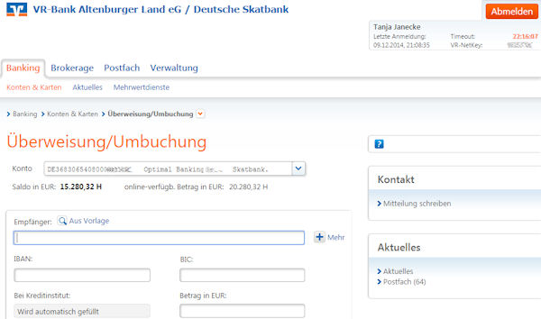 Extract from the online banking of the Deutsche Skatbank