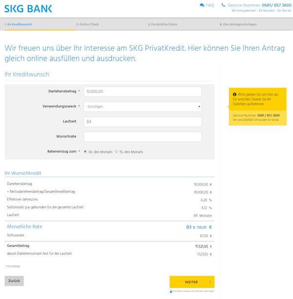 SKG Bank Online-Antrag Kredit