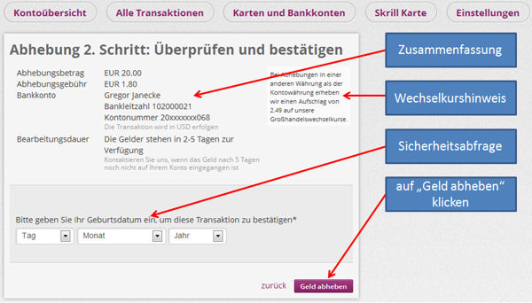Skrill Moneytransfer in die USA