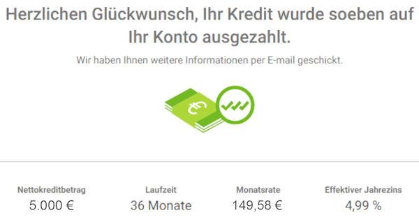 Smava Kredit ausgezahlt 5000 Euro