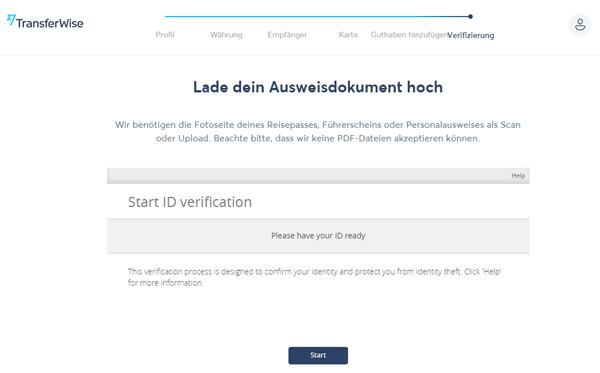Transferwise Borderless Account beantragen 11