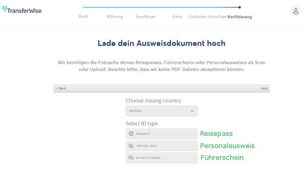 Transferwise Borderless Account beantragen 12