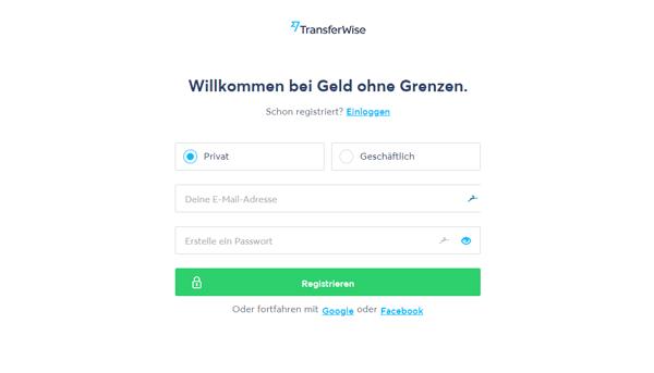 Kontoeröffnung bei TransferWise