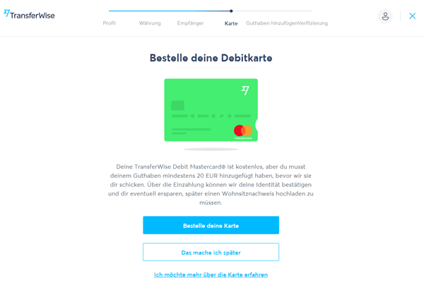Transferwise Borderless Account beantragen 7