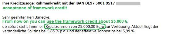 Kreditzusage Rahmenkredit