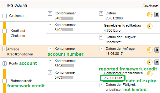 framework credit in the Schufa registered