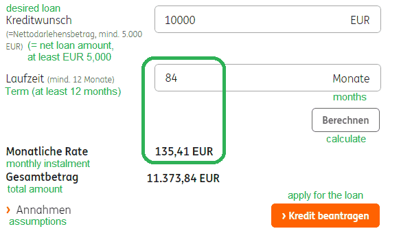 apply for installment loan at ING-DiBa