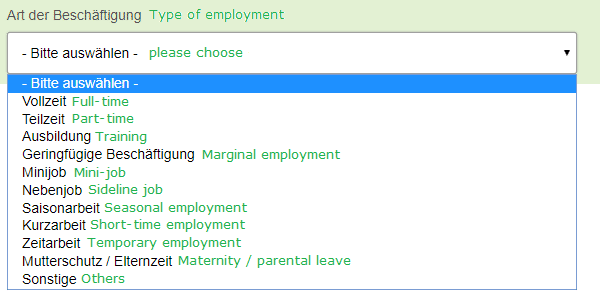 specify type of employment