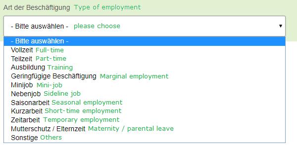 specify type of employment