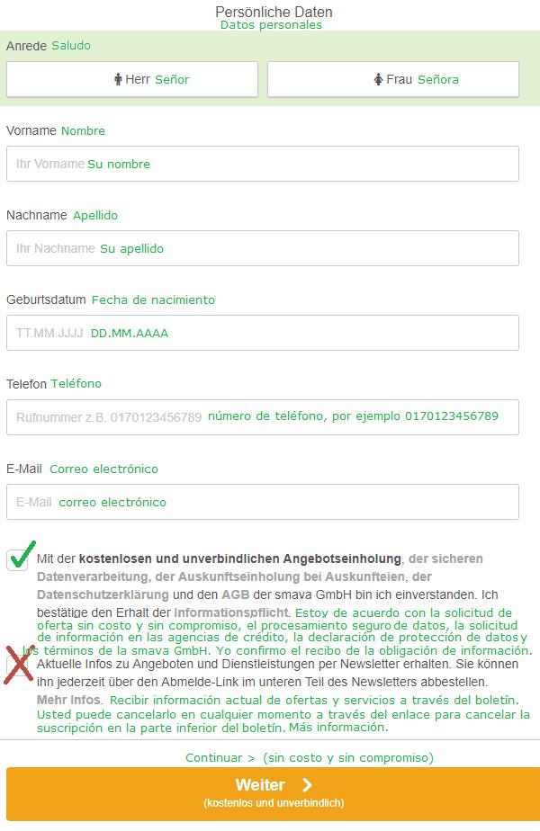 Datos personales en el caso de solicitud de crédito por ING.