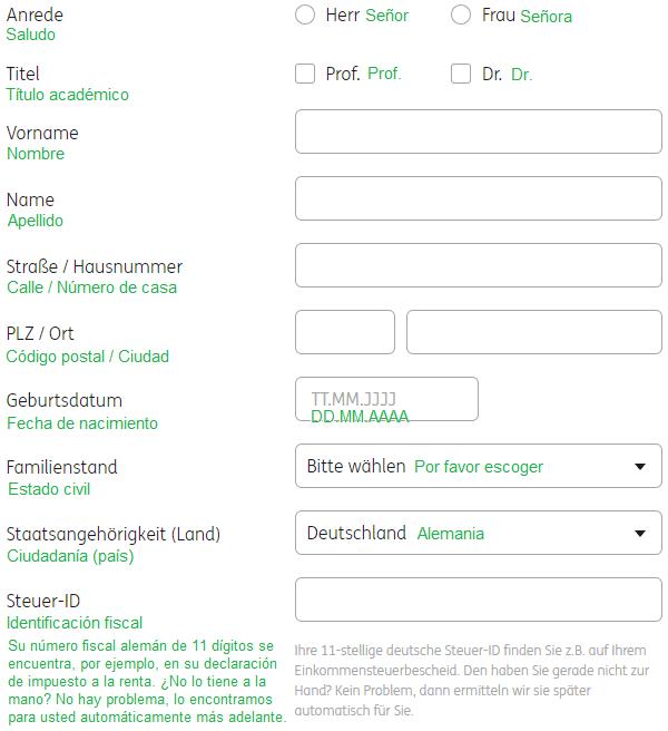 cuenta de valores entablar ING – datos de carácter personal
