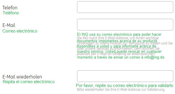 ING cuenta de valores entablar parte 4