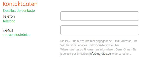 Ingrese los detalles de contacto para la apertura de la cuenta