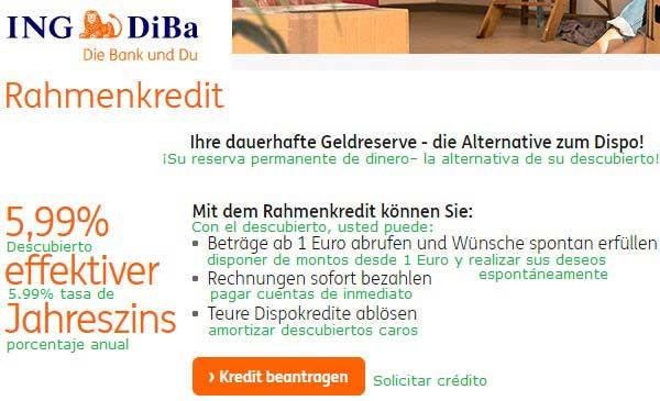 ING-DiBa linea de credito y descubierto