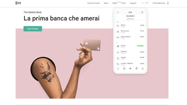 N26 banca mobile