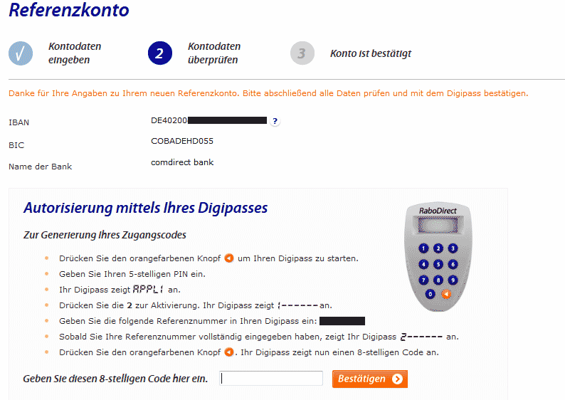 Referenzkonto ändern RaboDirect
